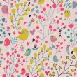 Vector seamless pattern with flower and birds. — Stok Vektör