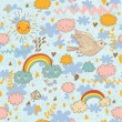 Funny cartoon seamless pattern. Weather concept with clouds, birds, rainbows and sun — Imagen vectorial