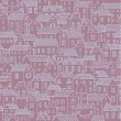 Hand-drawn seamless pattern with cute town. Vector texture with small houses - Stock Vector