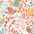 Seamless texture with flowers and birds. Endless floral pattern — Stock Vector #24645767