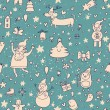 Christmas background in retro style. Seamless pattern in green colors — ベクター素材ストック