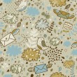 Royalty-Free Stock 矢量图片: Concept floral seamless pattern with clouds, birds and envelopes