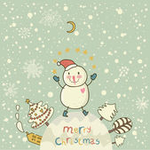 Cartoon Christmas background for nice holiday cards with cute Snowman. New Year vector banner — Stock Vector