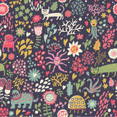 Children's background. Cartoon seamless pattern in bright colors — ストックベクタ