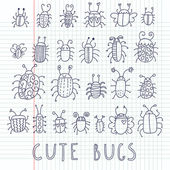 Cute bugs. Cartoon vector set — Stock Vector