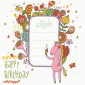 Sfondo vacanza in stile cartoon. carino cavallo divertente con una casella di testo in stile vintage floreali in vettoriale — Vettoriale Stock