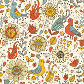 Vintage birds in retro flowers. Seamless pattern in vector — Stock Vector