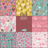 Romantic seamless patterns. Vector set. Cartoon patterns for cute wallpapers — Stock Vector