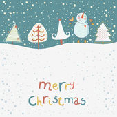 Merry Christmas. Funny cartoon background with cute snowman — Stock Vector