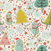 Winter seamless pattern in cartoon style. Funny Christmas background with snowmen — Stock Vector