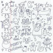 Dibujos animados vector set de navidad. símbolos lindo año nuevo — Vector de stock