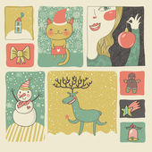 Retro Christmas and New Year set in vector. Cute cartoon style — Stock Vector