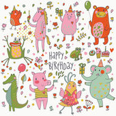 Happy birthday. Funny cartoon vector set with bear, frog, horse, pig, bid, crocodile and elephant — Stock Vector