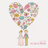 Concept couple in love illustration. Romantic vector card — Stock Vector