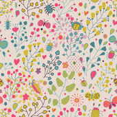 Vintage floral seamless pattern in cartoon style and pastel colors — Stock Vector