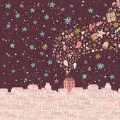 концепция рождество иллюстрация. мультфильм город празднует новый год и рождество. — Cтоковый вектор