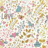 Romantische naadloze patroon voor schattig floral wallpapers — Stockvector