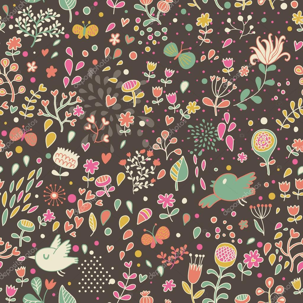 Floral Seamless Pattern With Flowers. Cartoon Background
