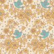 Floral seamless pattern with cartoon birds — Stock Vector #25013353