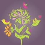 Art nouveau vector flowers — Stock Vector