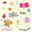 Funny insects - cute set. This illustration in vector - in my portfolio. — Stock Vector