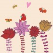 Cute floral background with bird singing and butterflies. Vector greeting card — Imagen vectorial