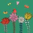 Cute floral background with bird singing and butterflies. Vector greeting card — Image vectorielle