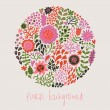Ornamental round floral pattern, circle background with cute details. Round shape made of eaves and different flowers. Summer background. Bright summer outlines made from flowers. — Imagen vectorial