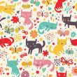 Stock Vector: Funny cats. Cartoon seamless pattern for children background. Colorful wallpaper with cats, butterflies and flowers