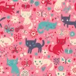 Funny cats. Cartoon seamless pattern for children background. Colorful wallpaper with cats, butterflies and flowers — Imagens vectoriais em stock