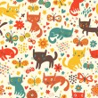 Funny cats. Cartoon seamless pattern for children background. Colorful wallpaper with cats, butterflies and flowers — Stock Vector #25013833