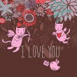 Romantic background. Cupid cats in flowers — Imagens vectoriais em stock