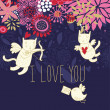 Cartoon Cupid cats on romantic background in vector — Stock Vector