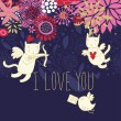 Cartoon Cupid cats on romantic background in vector — Imagens vectoriais em stock