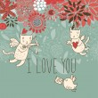 Romantic background. Cupid cats in flowers — Imagen vectorial