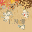 Cartoon romantic background with funny cats-cupids — Διανυσματικό Αρχείο