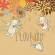 Cartoon romantic background with funny cats-cupids — Stock Vector