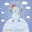 Cartoon new 2012 year card with a funny snowman — Imagens vectoriais em stock