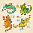 Cartoon dragons in vector. 2012 symbol - Stock Vector