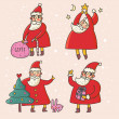 Cartoon Santa Claus. Funny vector set - Stock Vector