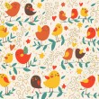 Cartoon seamless pattern in warm colors with cute birds — Stock Vector #25013919