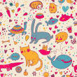 Colorful funny seamless pattern with animals — Stok Vektör