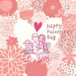 Boy and girl in love. Valentine's day card with floral heart shape. — Imagen vectorial