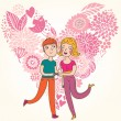 Stock Vector: Cartoon boy and girl in love