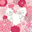 Boy and girl in love. Valentine's day card with floral heart shape. — Stok Vektör