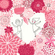 Boy and girl in love. Valentine's day card with floral heart shape. — Stockvectorbeeld