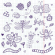 Funny insects - cute doodle set scrapbook page — Stock Vector #25014061