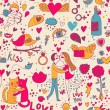 Cartoon romantic seamless pattern with lovers, cats and birds — Stock Vector