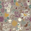 Seamless pattern with teacups, teapots, cakes and flowers — Stockvektor