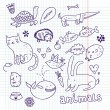 Animals doodle set — Stock Vector